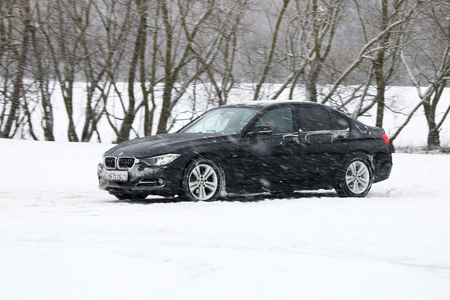minsk: MINSK, BELARUS - FEBRUARY 19, 2016: New BMW 3-series in 2016 at the test drive event for automotive journalists from Minsk