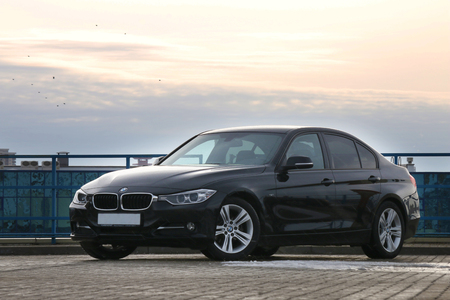 three: MINSK, BELARUS - FEBRUARY 19, 2016: New BMW 3-series in 2016 at the test drive event for automotive journalists from Minsk