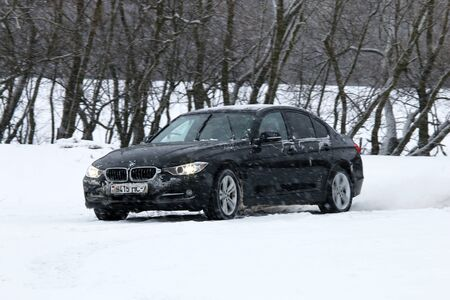 test drive: MINSK, BELARUS - FEBRUARY 19, 2016: New BMW 3-series in 2016 at the test drive event for automotive journalists from Minsk