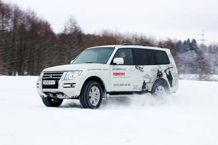 mud snow: MINSK, BELARUS - MARCH 02, 2016: New Mitsubishi Pajero IV at the test drive event for automotive journalists from Minsk Editorial