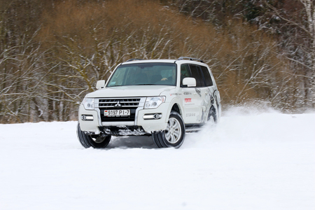 test drive: MINSK, BELARUS - MARCH 02, 2016: New Mitsubishi Pajero IV at the test drive event for automotive journalists from Minsk Editorial