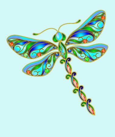 precious stones: Decorative dragonfly made of precious stones