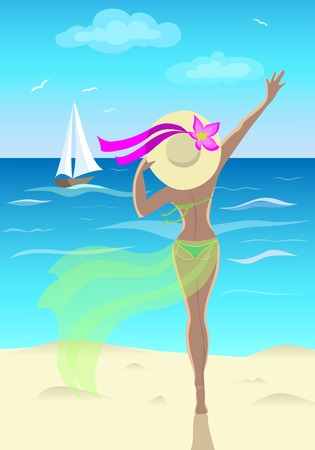 tanned girl: Tanned girl at sea waves at ship Illustration