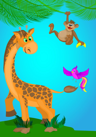 Cartoon childrens illustration with a giraffe,monkey and bird .
