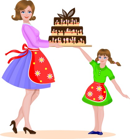 mom and daughter: Mother and daughter baked a cake. Illustration