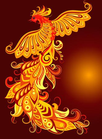 Vector illustration of a mythical bird phoenix on a dark background.