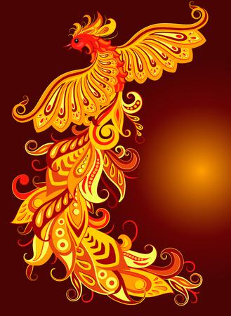 Vector illustration of a mythical bird phoenix on a dark background.