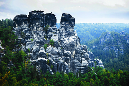 saxon: Bastei mountains in Saxon Switzerland, Germany Stock Photo