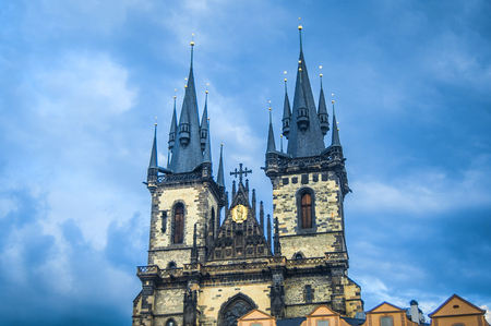 Old town in Prague with blue clouds behind