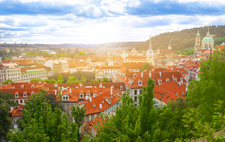 Top view of Prague houses with red roofs