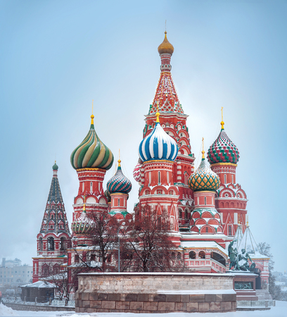 St. Basil's Cathedral in Moscow covered by snow