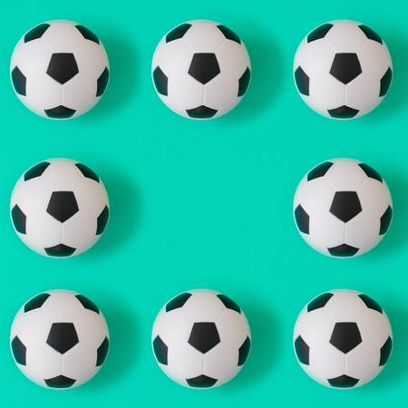 Many black and white football balls background, pattern and print