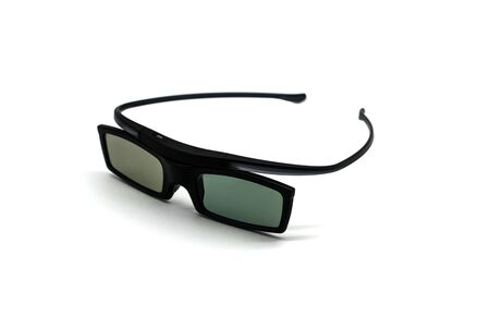 Three d glasses in black on a white background