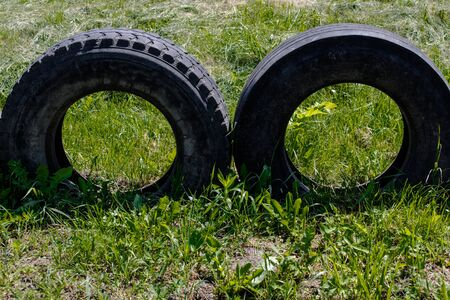 Two old big tires on a green lawn Foto de archivo