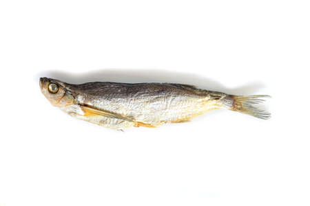 isolated close up top view single dried salted chehon fish on a white background Stock fotó