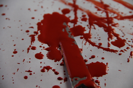 a bloody knife Stock Photo