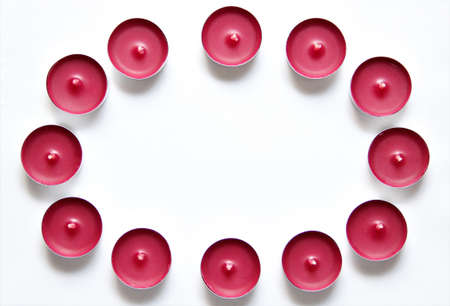 red candles on a white background