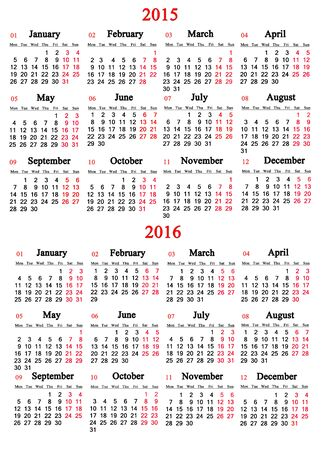 usual: usual office calendar for 2015 - 2016 years on white background Stock Photo