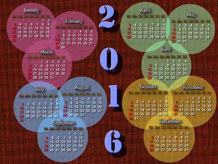 next year: calendar for next year in circles on the brown background