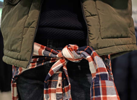 Details of mens casual outfits, jeans, jacket, plaid hip shirt