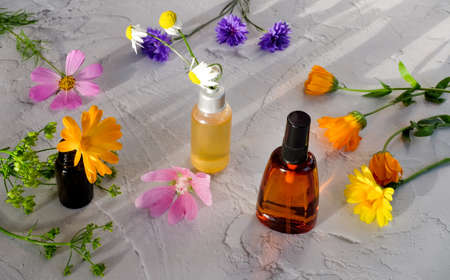Bottles with natural ingredients and colorful flowers on white textured background. Natural cosmetic concept.