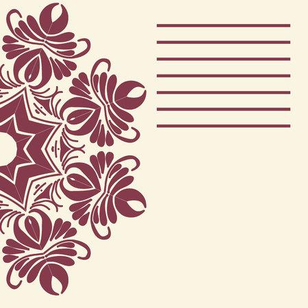 Vector mandala. Abstract vector floral ornamental border. Lace pattern design. Vector ornamental border frame. Can be used for, cards, wedding invitations etc Ilustração