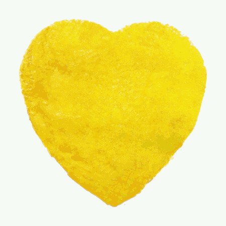 yellow heart: Watercolor yellow heart, vector element for your design