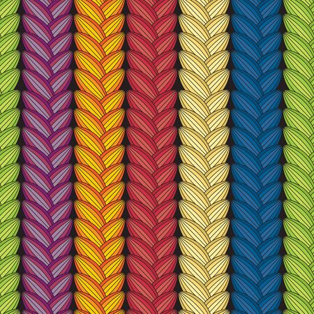 pigtail: Optical illusion: Multicolor abstract seamless pattern. Texture of wavy vertical stripes. Stylish abstract background. pigtail.