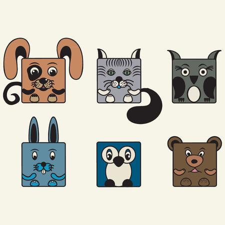set square: painted, color set square animals