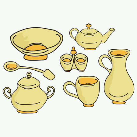white house: Set of kitchen appliance. Household utensils. hand drawn. Vector illustraton.