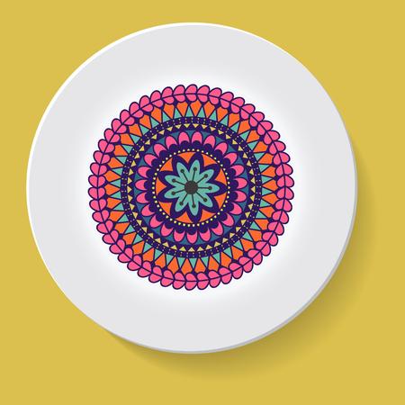 elegância: plate with elegance tribal ornament mandala. Vector illustration