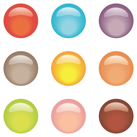 shiny buttons: Vector illustration of coloured glossy and shiny network sphere icon.  set glass buttons Illustration