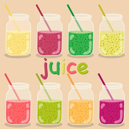 Vector set of the icons. lemonade illustration. Minimalist icons food in the flat style. A refreshing drink made from fruits and vegetables.