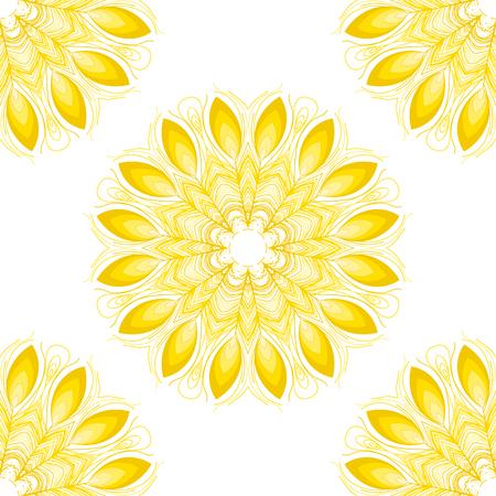 Vector mandala. Abstract vector floral ornamental border.