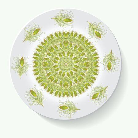 earthenware: Empty white plate. Illustration on white background