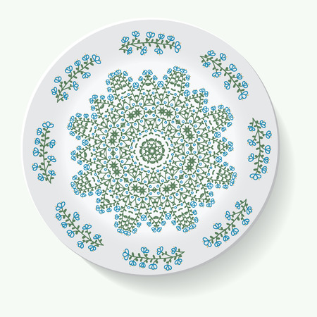 directly: Empty white plate. Illustration on white background