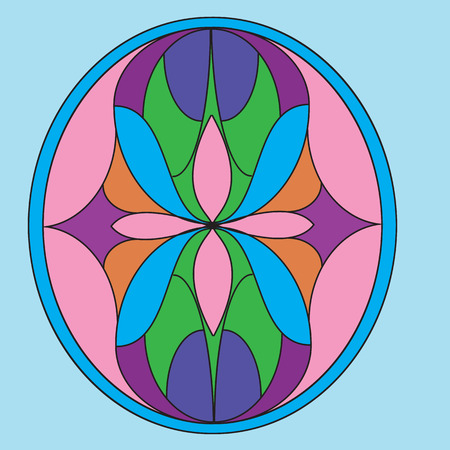 blue glass: symmetric composition, vector illustrations in stained glass window Illustration