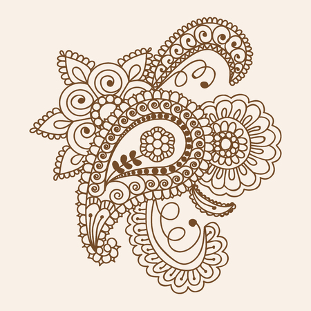 henna pattern: Henna Mehndi Doodles Abstract Floral Paisley Design Elements, Mandala, and Page Corner Design Vector Illustration