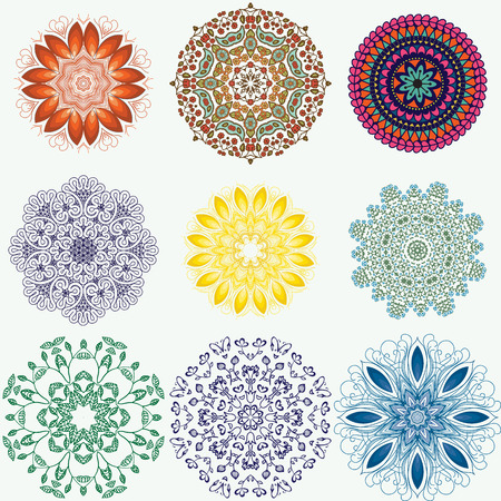 oriental ornament: Set of color ethnic ornamental floral patterns. Hand drawn mandalas. Orient traditional background. Lace circular ornaments. Ethnic, Indian, Islamic, Asian, ottoman, Arabic motif. Vector illustration