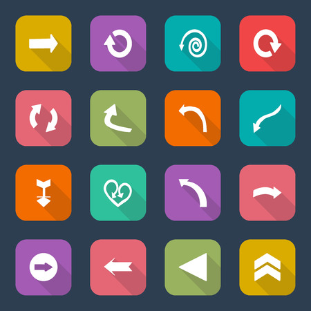 pointer emblem: Set arrow icons, flat UI design trend, illustration of web design elements. Illustration
