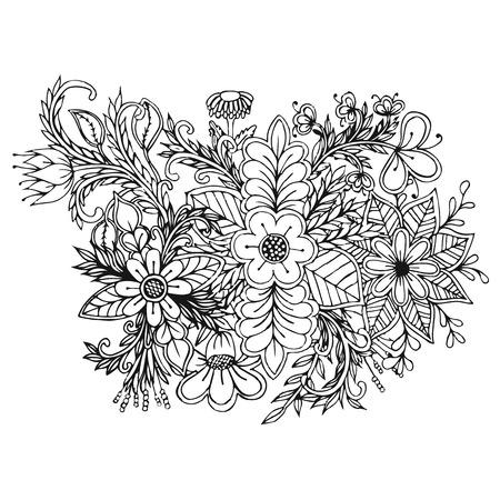White and black doodle floral set. Design elements for your ideas Ilustração