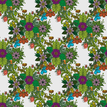 Vector floral pattern in doodle style with flowers and leaves. floral background.