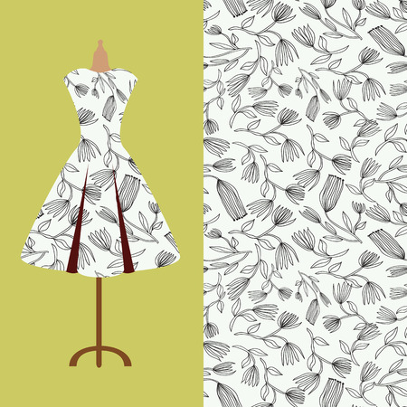 Fabric pattern design for a womans dress. Perfect for printing on fabric or paper. Ilustração