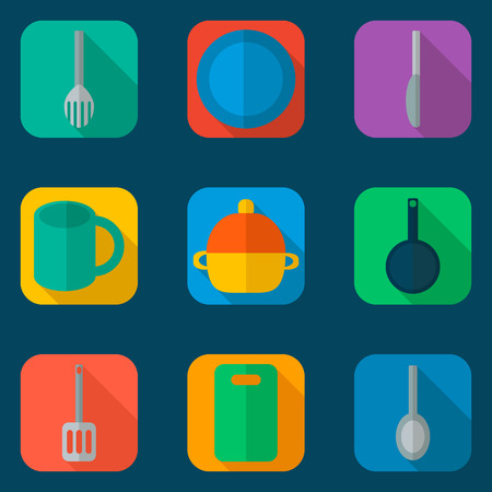 food preparation: Flat icons set of kitchen utensil and collection of cookware, cooking tools and kitchenware equipment, serve meals and food preparation elements. Modern design style vector illustration poster concept Illustration
