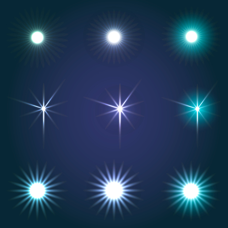 Set of glowing and sparkling stars. Vector illustration