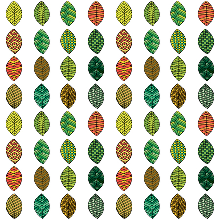 Vector seamless pattern. Floral stylish background with colorful leaves Ilustração