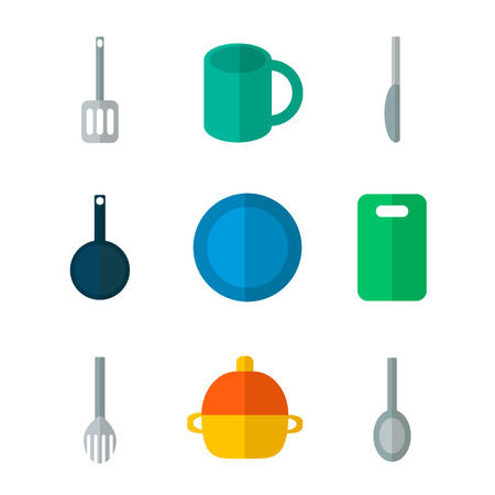 Flat icons set of kitchen utensil and collection of cookware, cooking tools and kitchenware equipment, serve meals and food preparation elements. Modern design style vector illustration poster concept Ilustração