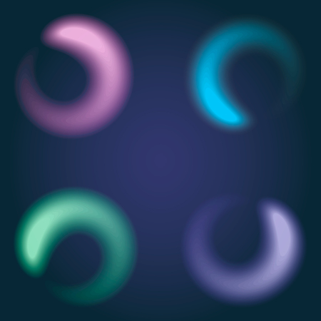 set of colorful spirals on a black background