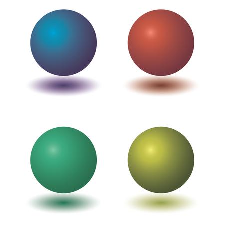 Set of colorful ball glossy spheres on white. Ilustração