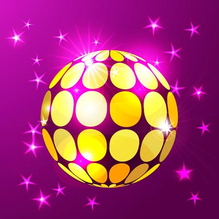 Disco ball background in glowing gold Ilustração